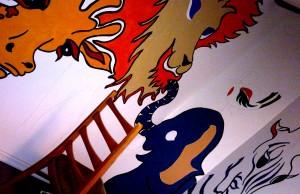 Tiermotive auf einer Wand